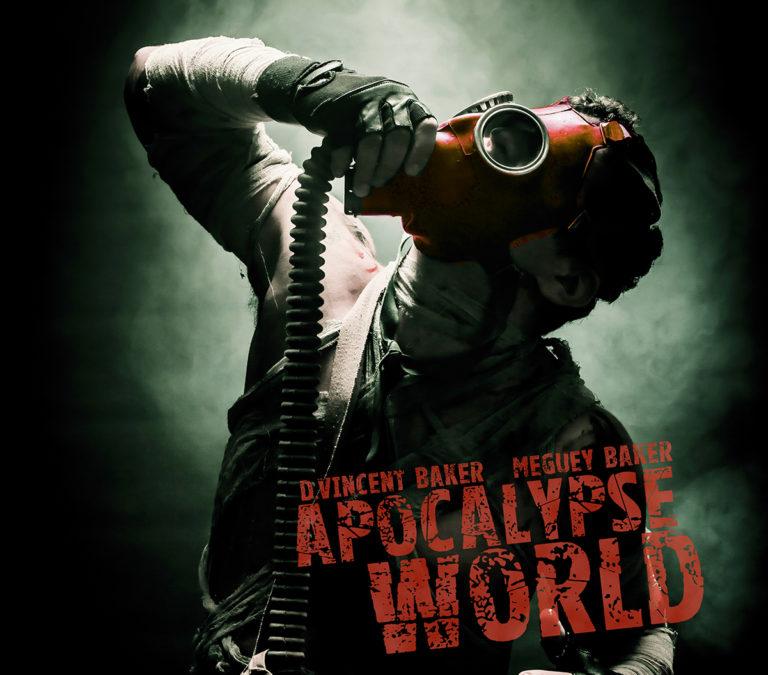 Beskuret omslag för den engelska utgåvan av Apocalypse World.